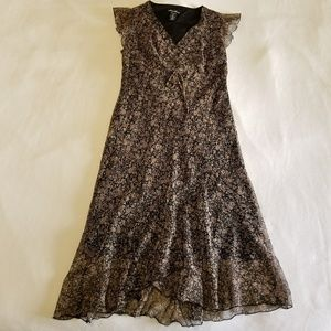 Dresses & Skirts - Black dress with brown floral print, Size 10